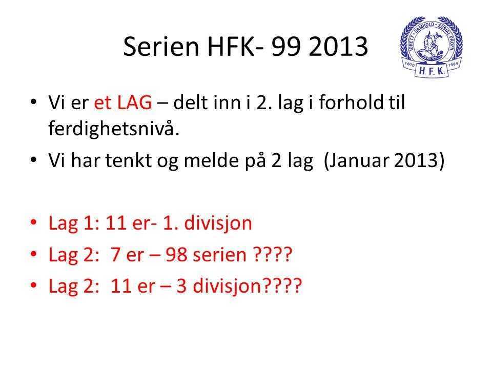 Serien HFK- 99 2013 • Vi er et LAG – delt inn i 2. lag i forhold til ferdighetsnivå. • Vi har tenkt og melde på 2 lag (Januar 2013) • Lag 1: 11 er- 1.