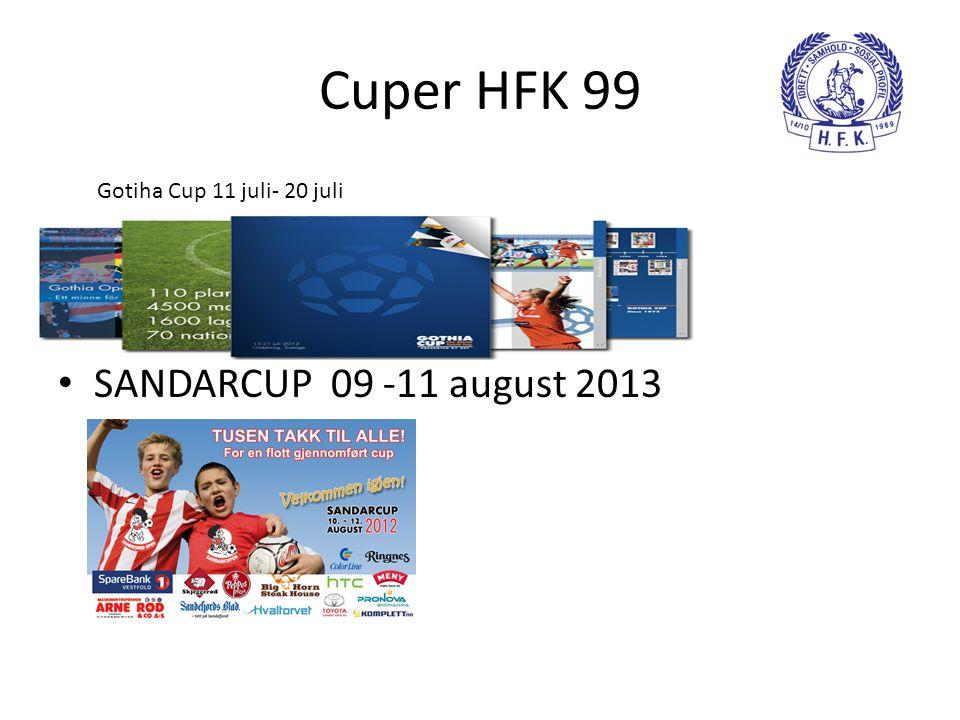 Cuper HFK 99 • SANDARCUP 09 -11 august 2013 Gotiha Cup 11 juli- 20 juli
