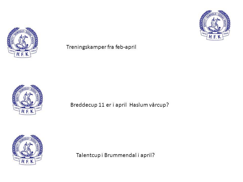 Treningskamper fra feb-april Breddecup 11 er i april Haslum vårcup? Talentcup i Brummendal i april?