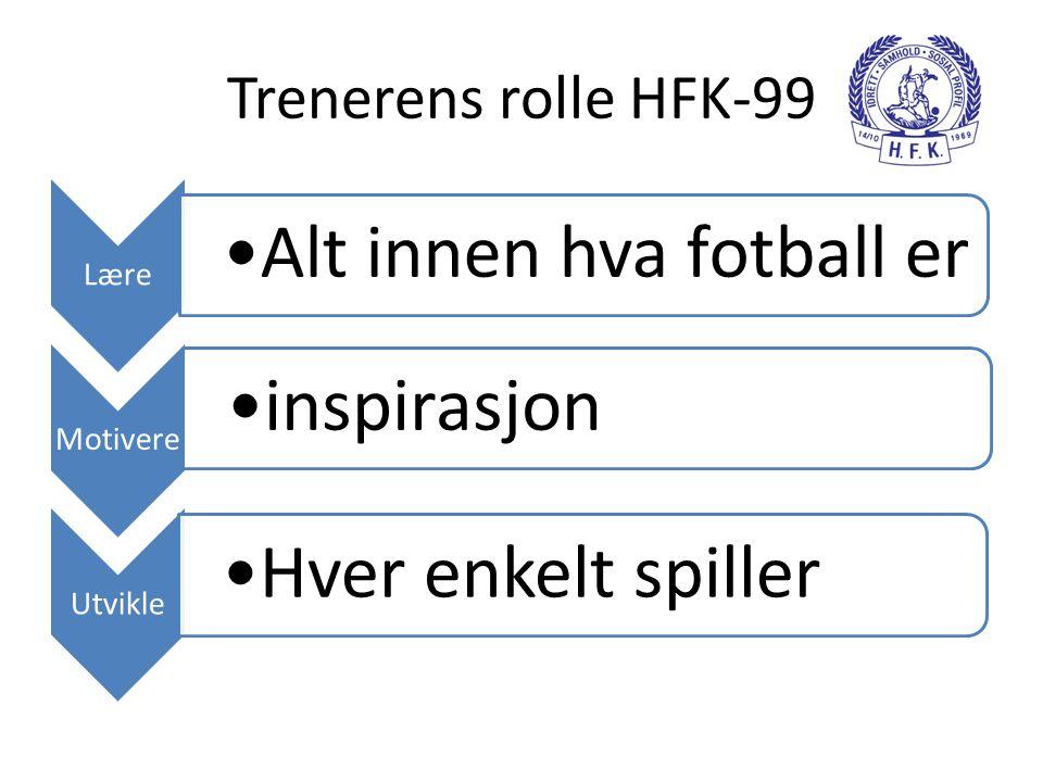 Trenerens rolle HFK-99 Lære •Alt innen hva fotball er Motivere •inspirasjon Utvikle •Hver enkelt spiller