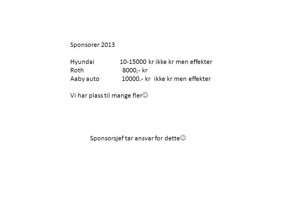 Sponsorer 2013 Hyundai 10-15000 kr ikke kr men effekter Roth 8000,- kr Aaby auto 10000.- kr ikke kr men effekter Vi har plass til mange fler  Sponsor