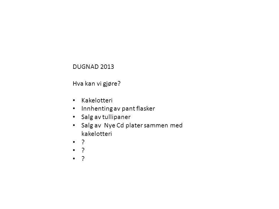 DUGNAD 2013 Hva kan vi gjøre? • Kakelotteri • Innhenting av pant flasker • Salg av tullipaner • Salg av Nye Cd plater sammen med kakelotteri • ?