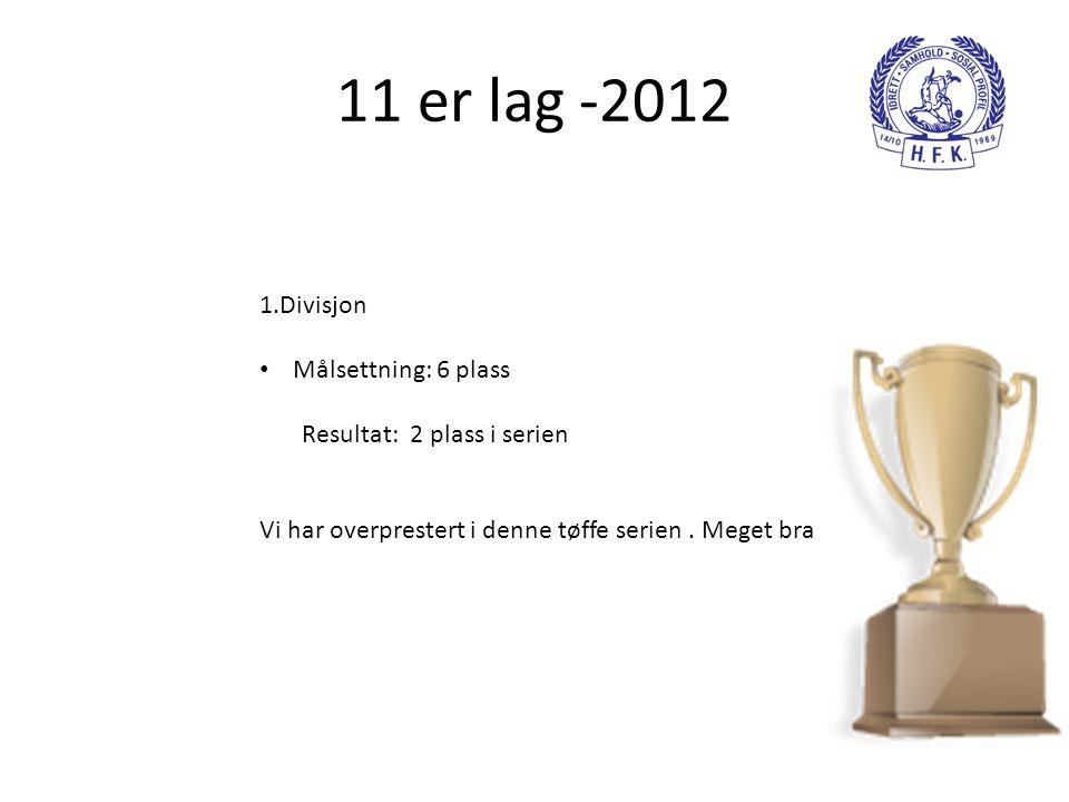 11 er lag -2012 1.Divisjon • Målsettning: 6 plass Resultat: 2 plass i serien Vi har overprestert i denne tøffe serien. Meget bra