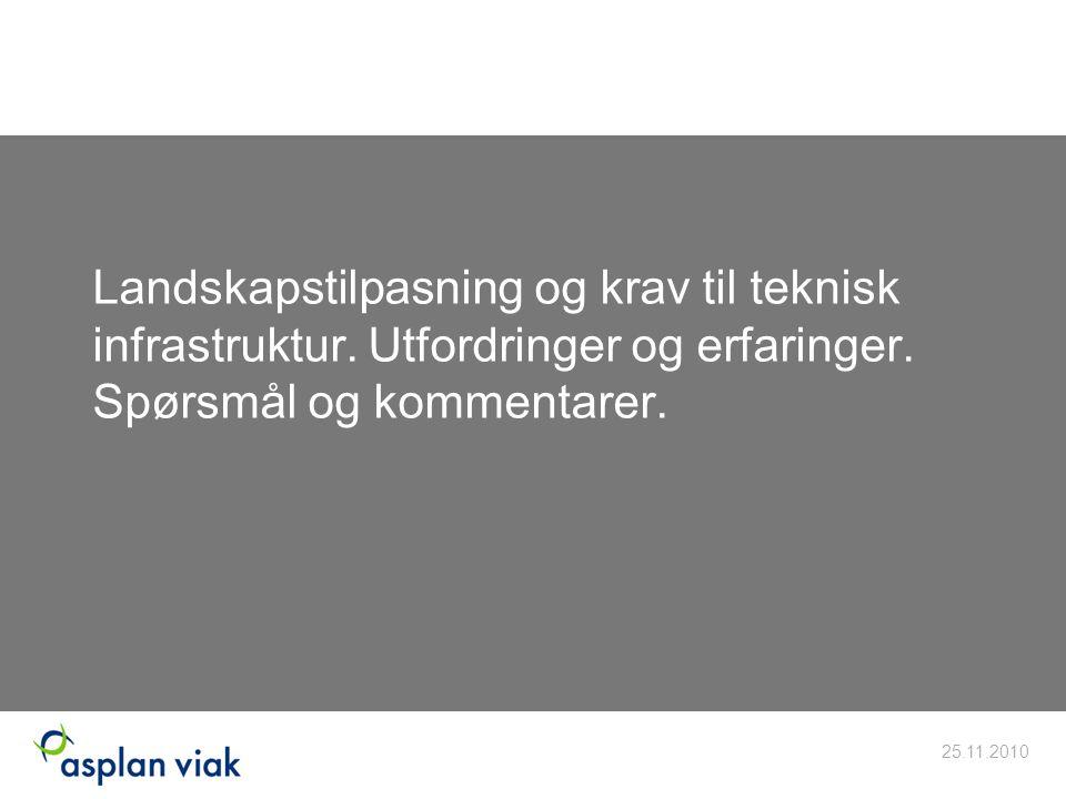 Landskapstilpasning og krav til teknisk infrastruktur. Utfordringer og erfaringer. Spørsmål og kommentarer. 25.11.2010