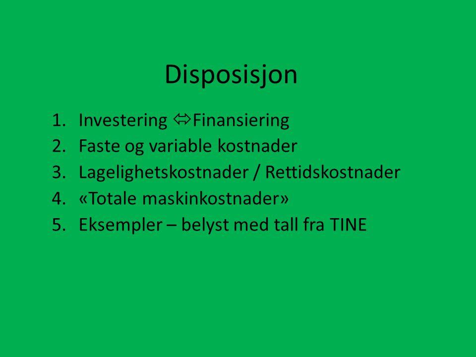 Disposisjon 1.Investering  Finansiering 2.Faste og variable kostnader 3.Lagelighetskostnader / Rettidskostnader 4.«Totale maskinkostnader» 5.Eksempler – belyst med tall fra TINE