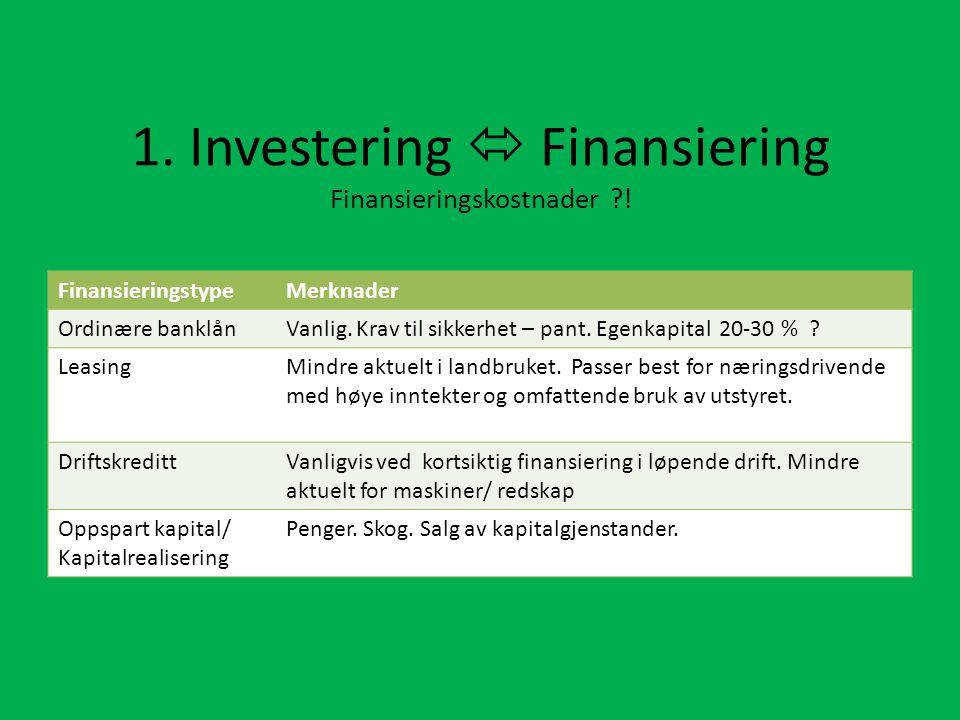 1.Investering  Finansiering Finansieringskostnader ?.