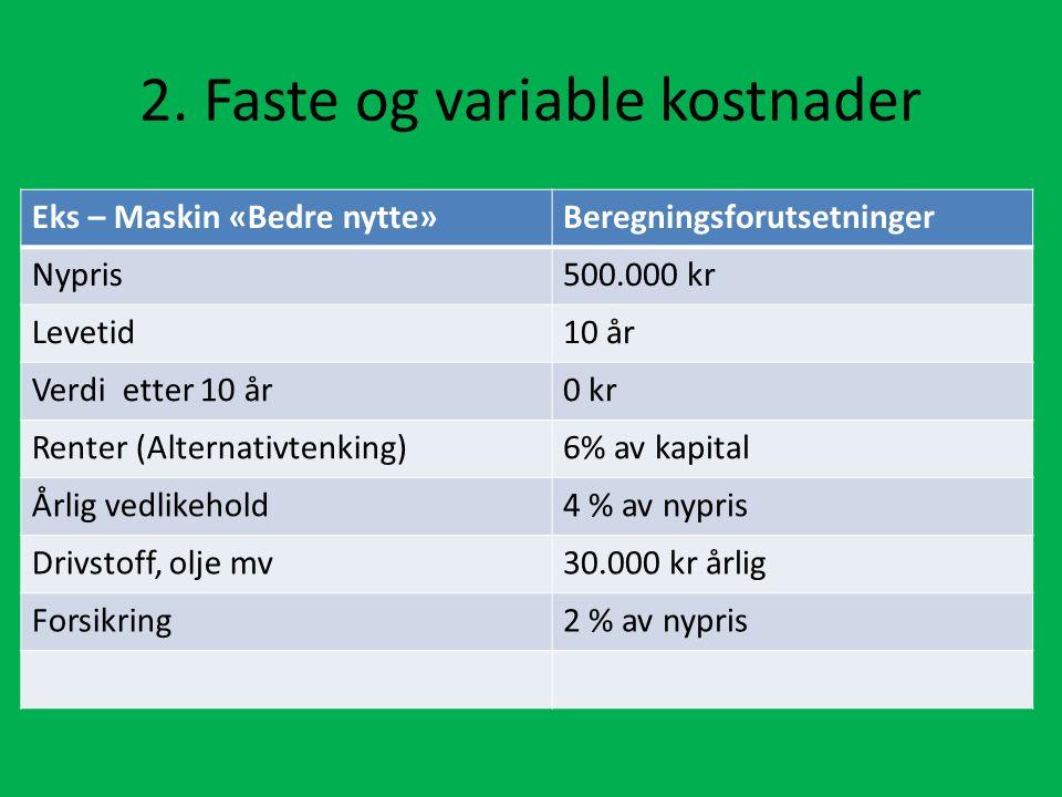 2. Faste og variable kostnader Eks – Maskin «Bedre nytte»Beregningsforutsetninger Nypris500.000 kr Levetid10 år Verdi etter 10 år0 kr Renter (Alternat