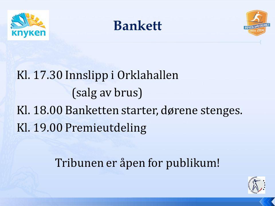 Kl. 17.30 Innslipp i Orklahallen (salg av brus) Kl. 18.00 Banketten starter, dørene stenges. Kl. 19.00 Premieutdeling Tribunen er åpen for publikum!