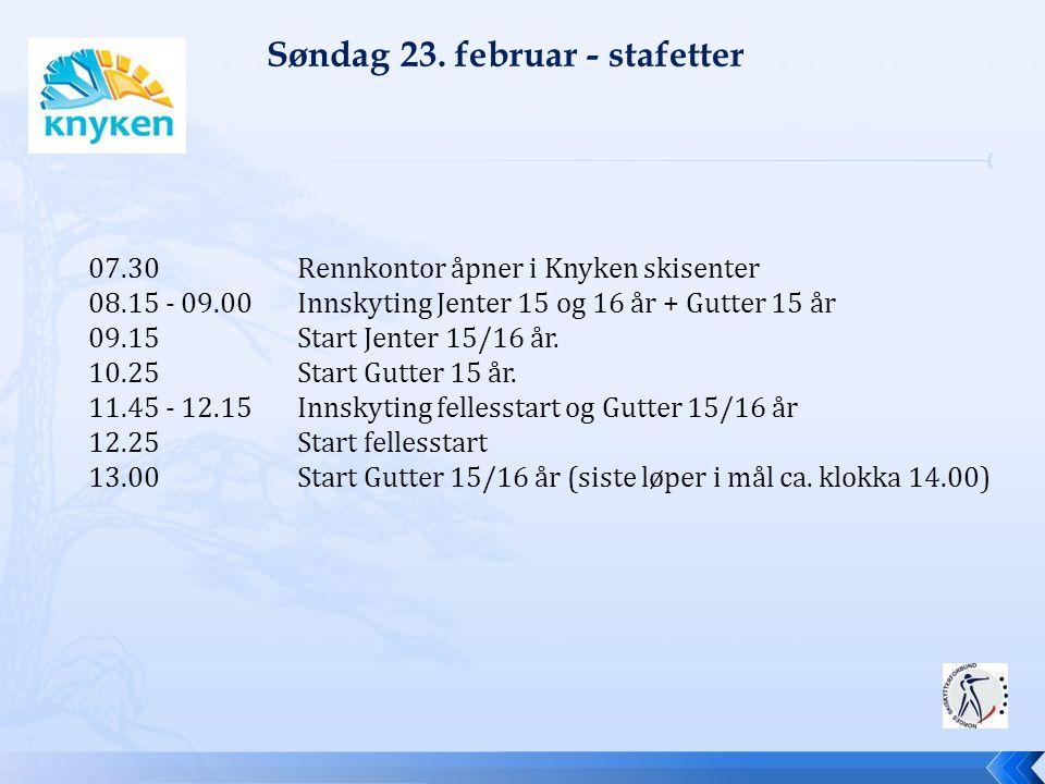 07.30 Rennkontor åpner i Knyken skisenter 08.15 - 09.00 Innskyting Jenter 15 og 16 år + Gutter 15 år 09.15 Start Jenter 15/16 år. 10.25 Start Gutter 1
