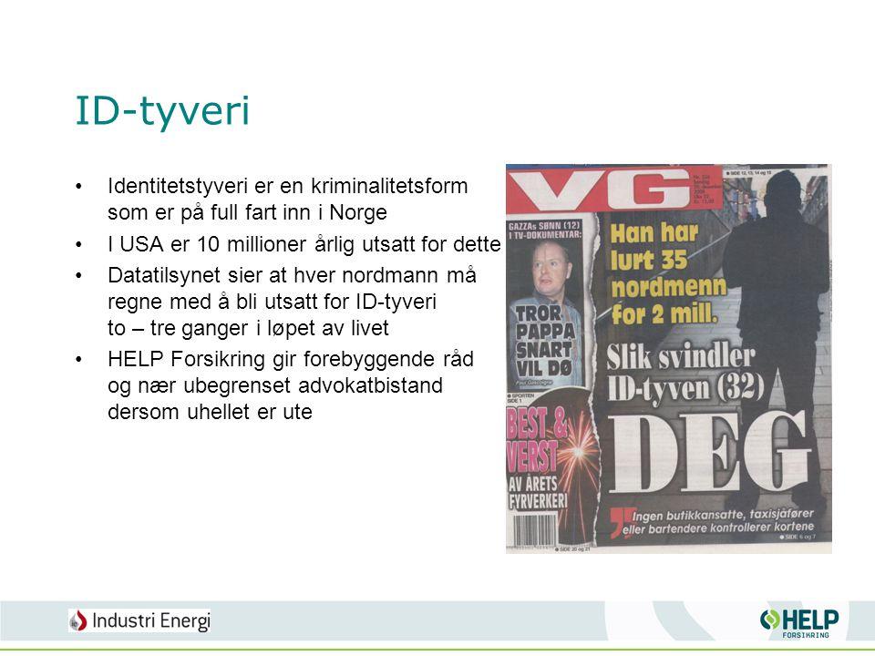 ID-tyveri •Identitetstyveri er en kriminalitetsform som er på full fart inn i Norge •I USA er 10 millioner årlig utsatt for dette •Datatilsynet sier a
