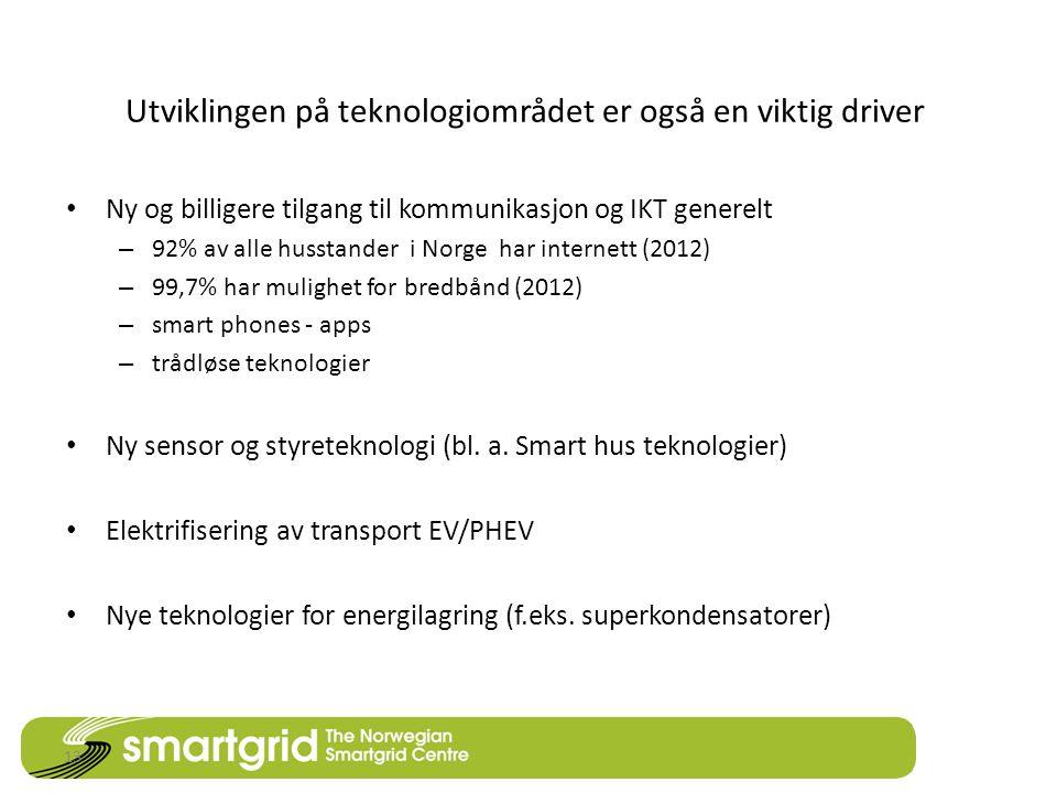 Utviklingen på teknologiområdet er også en viktig driver • Ny og billigere tilgang til kommunikasjon og IKT generelt – 92% av alle husstander i Norge har internett (2012) – 99,7% har mulighet for bredbånd (2012) – smart phones - apps – trådløse teknologier • Ny sensor og styreteknologi (bl.