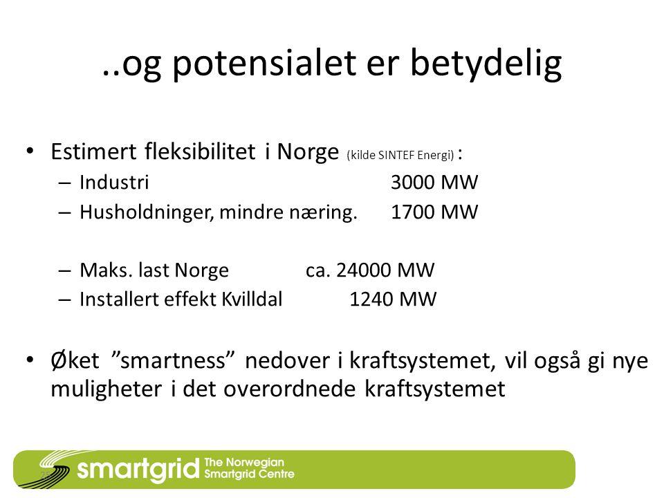 ..og potensialet er betydelig • Estimert fleksibilitet i Norge (kilde SINTEF Energi) : – Industri 3000 MW – Husholdninger, mindre næring.
