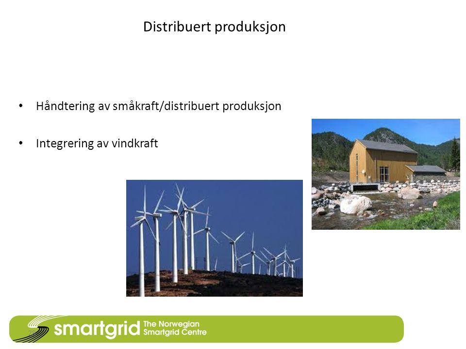 Distribuert produksjon • Håndtering av småkraft/distribuert produksjon • Integrering av vindkraft 28