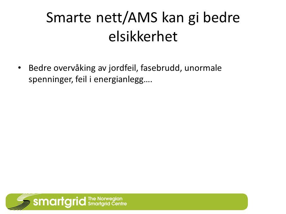 Smarte nett/AMS kan gi bedre elsikkerhet • Bedre overvåking av jordfeil, fasebrudd, unormale spenninger, feil i energianlegg….
