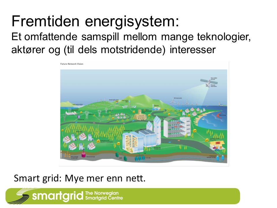 Fremtiden energisystem: Et omfattende samspill mellom mange teknologier, aktører og (til dels motstridende) interesser Smart grid: Mye mer enn nett.