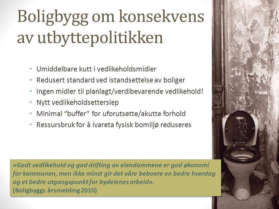 Boligbygg om konsekvens av utbyttepolitikken • Umiddelbare kutt i vedlikeholdsmidler • Redusert standard ved istandsettelse av boliger • Ingen midler