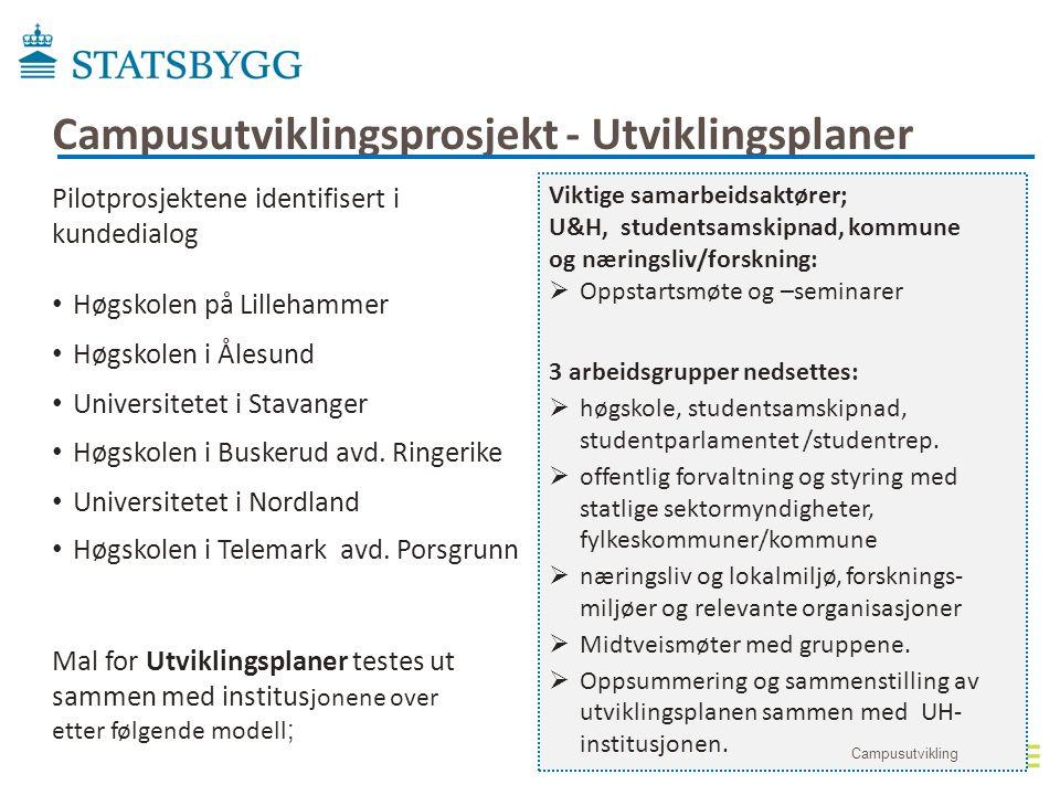 Pilotprosjektene identifisert i kundedialog • Høgskolen på Lillehammer • Høgskolen i Ålesund • Universitetet i Stavanger • Høgskolen i Buskerud avd. R