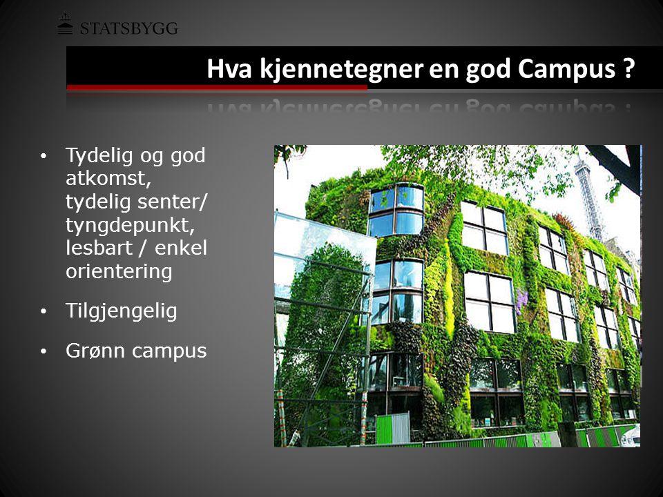 • Tydelig og god atkomst, tydelig senter/ tyngdepunkt, lesbart / enkel orientering • Tilgjengelig • Grønn campus
