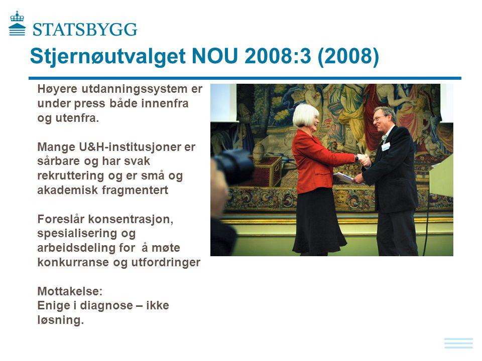 Stjernøutvalget NOU 2008:3 (2008) Høyere utdanningssystem er under press både innenfra og utenfra. Mange U&H-institusjoner er sårbare og har svak rekr