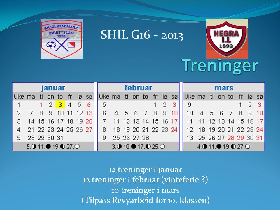12 treninger i januar 12 treninger i februar (vinteferie ?) 10 treninger i mars (Tilpass Revyarbeid for 10.