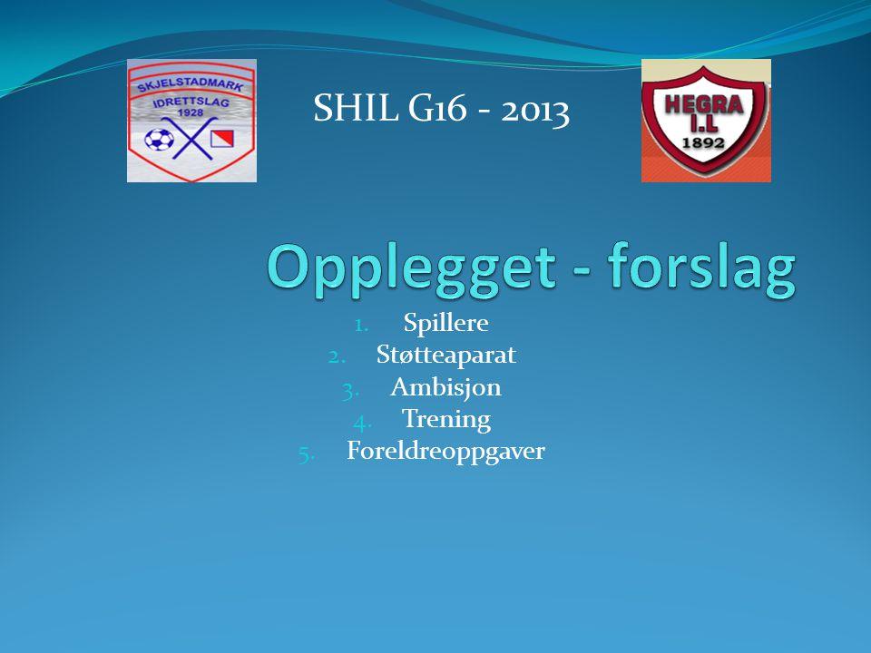 1. Spillere 2. Støtteaparat 3. Ambisjon 4. Trening 5. Foreldreoppgaver SHIL G16 - 2013