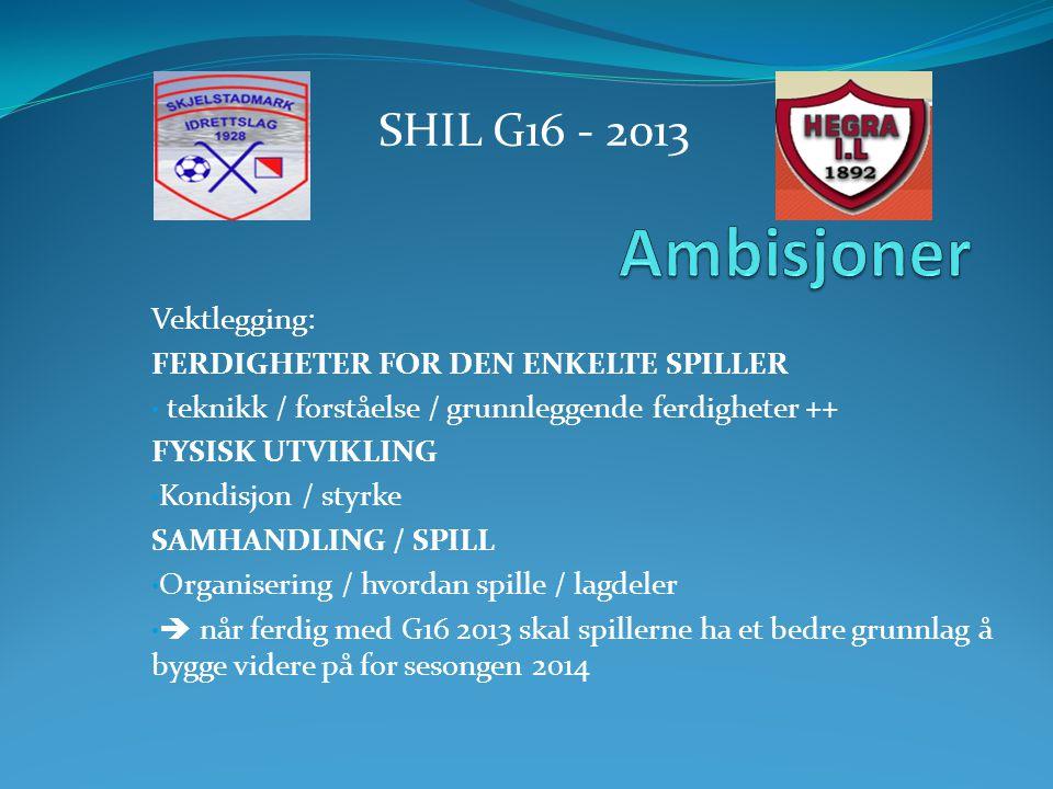 Vektlegging: FERDIGHETER FOR DEN ENKELTE SPILLER • teknikk / forståelse / grunnleggende ferdigheter ++ FYSISK UTVIKLING • Kondisjon / styrke SAMHANDLING / SPILL • Organisering / hvordan spille / lagdeler •  når ferdig med G16 2013 skal spillerne ha et bedre grunnlag å bygge videre på for sesongen 2014 SHIL G16 - 2013