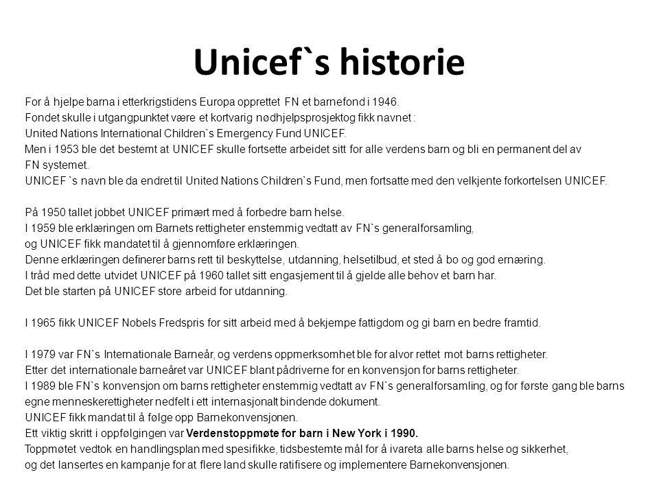 Unicef`s historie For å hjelpe barna i etterkrigstidens Europa opprettet FN et barnefond i 1946. Fondet skulle i utgangpunktet være et kortvarig nødhj