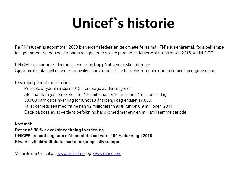 Unicef`s historie På FN`s tusen årstoppmøte i 2000 ble verdens ledere enige om åtte felles mål, FN`s tusenårsmål, for å bekjempe fattigdommen i verden og der barns rettigheter er viktige parametre.