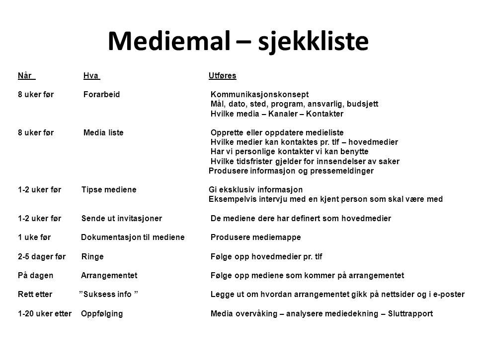 Mediemal – sjekkliste Når Hva Utføres 8 uker før Forarbeid Kommunikasjonskonsept Mål, dato, sted, program, ansvarlig, budsjett Hvilke media – Kanaler