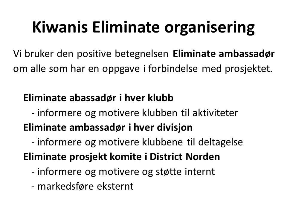 Kiwanis Eliminate organisering Vi bruker den positive betegnelsen Eliminate ambassadør om alle som har en oppgave i forbindelse med prosjektet. Elimin