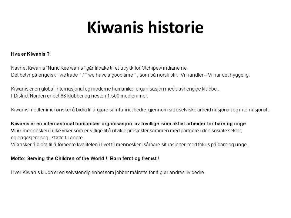 """Kiwanis historie Hva er Kiwanis ? Navnet Kiwanis """"Nunc Kee wanis """" går tilbake til et utrykk for Otchipew indianerne. Det betyr på engelsk """" we trade"""