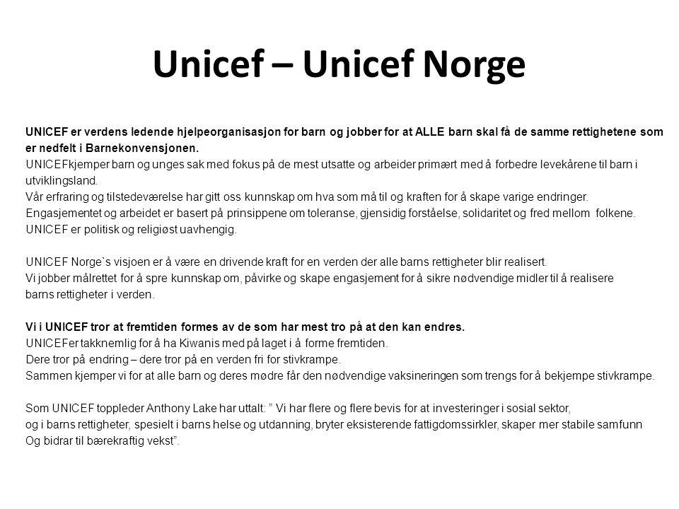 Unicef – Unicef Norge UNICEF er verdens ledende hjelpeorganisasjon for barn og jobber for at ALLE barn skal få de samme rettighetene som er nedfelt i