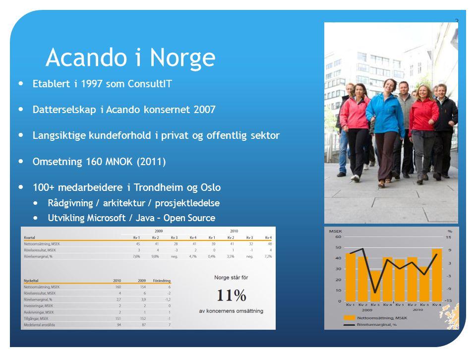 Acando konsernet  Acando AB - et av de største ledelses- og IT konsulentselskapene på OMX Nordiska Børs med en omsetning på over 1,5 milliarder SEK  Ca 1500 ansatte, 5 land  Sverige  Tyskland  Norge  Finland  England 4