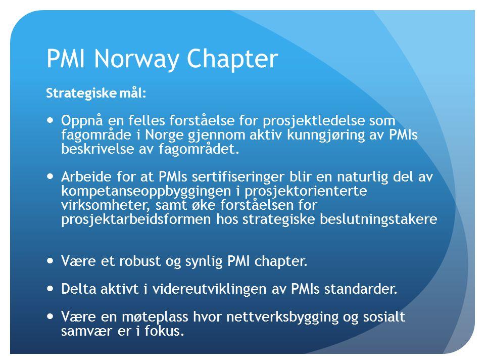PMI Norway Chapter Strategiske mål:  Oppnå en felles forståelse for prosjektledelse som fagområde i Norge gjennom aktiv kunngjøring av PMIs beskrivel