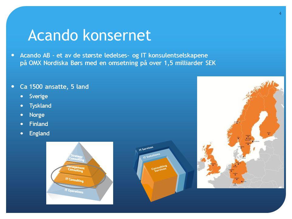 Acando konsernet  Acando AB - et av de største ledelses- og IT konsulentselskapene på OMX Nordiska Børs med en omsetning på over 1,5 milliarder SEK 