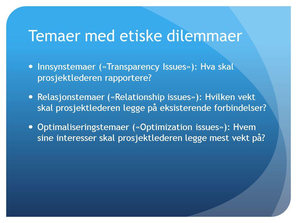 Temaer med etiske dilemmaer  Innsynstemaer («Transparency Issues»): Hva skal prosjektlederen rapportere?  Relasjonstemaer («Relationship issues»): H