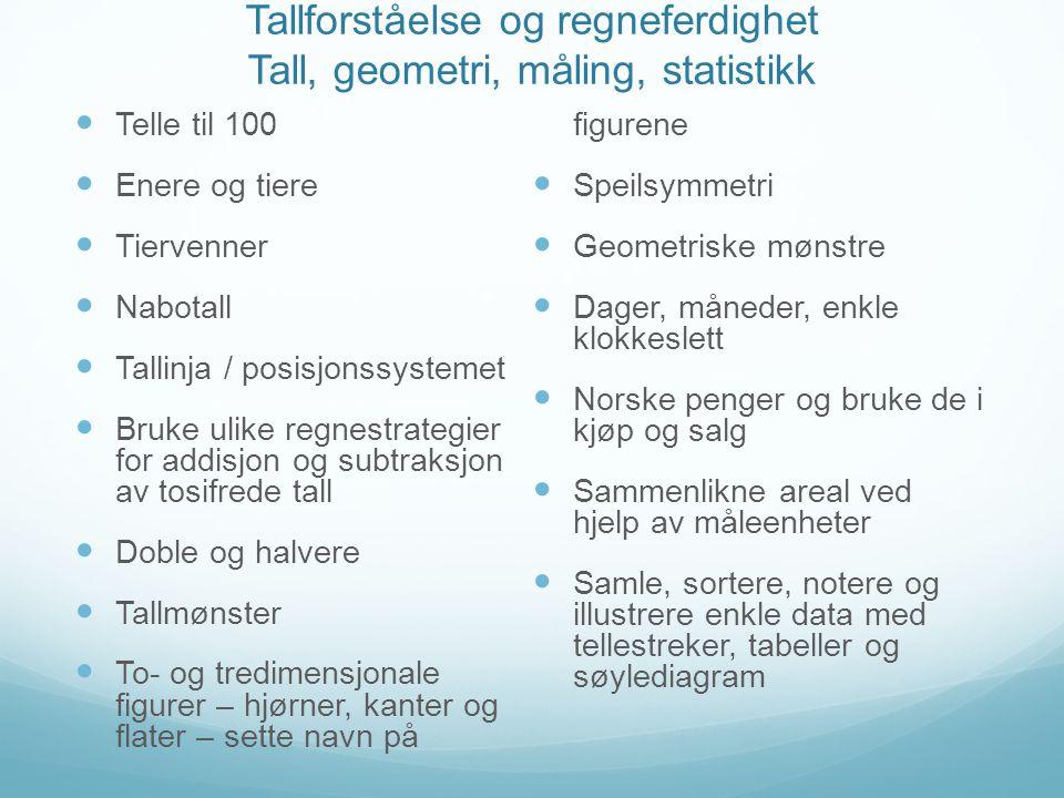 Tallforståelse og regneferdighet Tall, geometri, måling, statistikk  Telle til 100  Enere og tiere  Tiervenner  Nabotall  Tallinja / posisjonssys