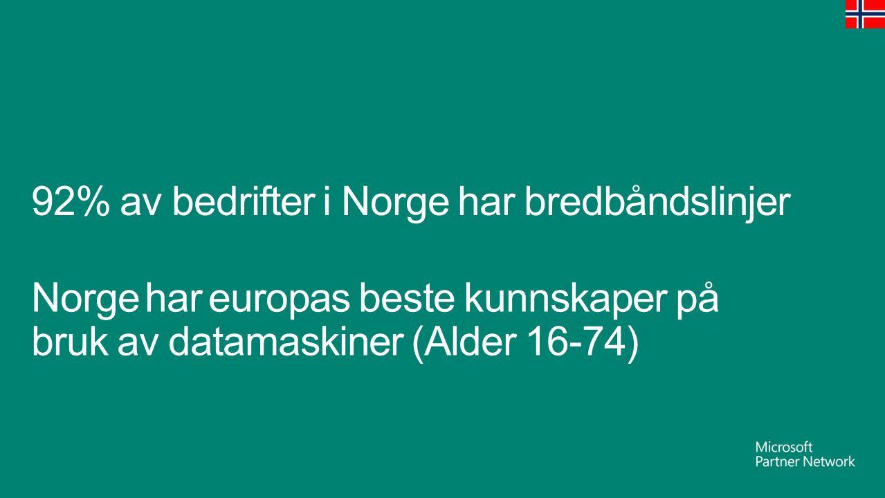 92% av bedrifter i Norge har bredbåndslinjer Norge har europas beste kunnskaper på bruk av datamaskiner (Alder 16-74)