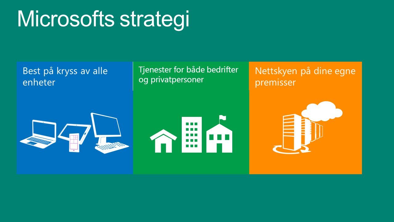 Tjenester for både bedrifter og privatpersoner Nettskyen på dine egne premisser Microsofts strategi