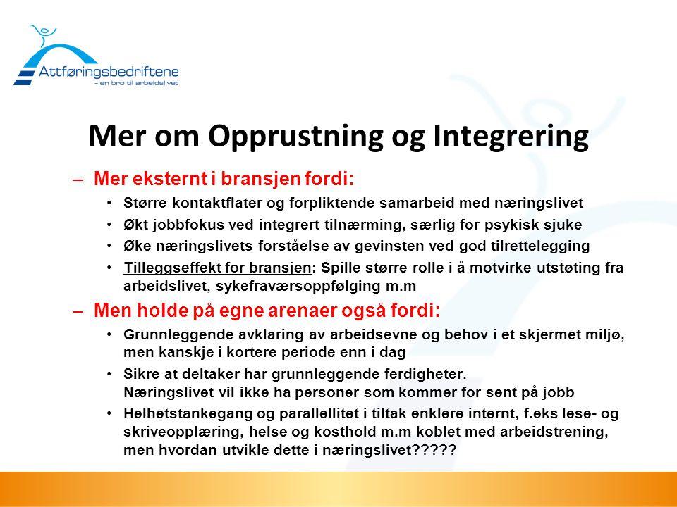 Mer om Opprustning og Integrering –Mer eksternt i bransjen fordi: •Større kontaktflater og forpliktende samarbeid med næringslivet •Økt jobbfokus ved