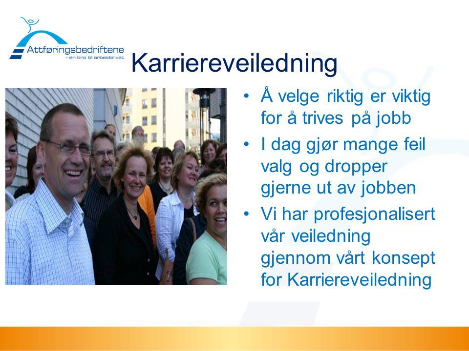 Karriereveiledning •Å velge riktig er viktig for å trives på jobb •I dag gjør mange feil valg og dropper gjerne ut av jobben •Vi har profesjonalisert