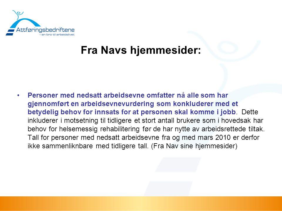 Fra Navs hjemmesider: •Personer med nedsatt arbeidsevne omfatter nå alle som har gjennomført en arbeidsevnevurdering som konkluderer med et betydelig