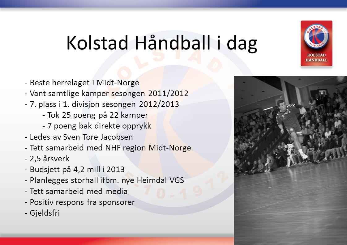 Kolstad Håndball i dag - Beste herrelaget i Midt-Norge - Vant samtlige kamper sesongen 2011/2012 - 7. plass i 1. divisjon sesongen 2012/2013 - Tok 25