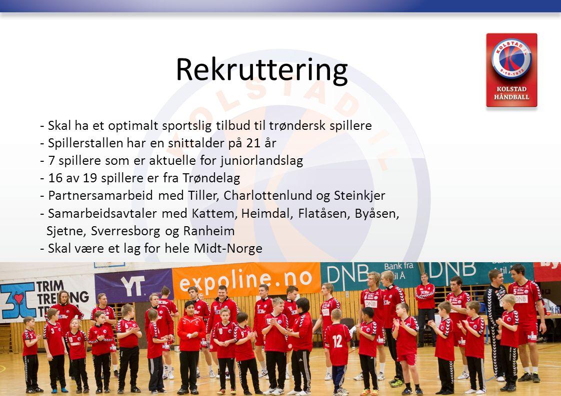 Rekruttering - Skal ha et optimalt sportslig tilbud til trøndersk spillere - Spillerstallen har en snittalder på 21 år - 7 spillere som er aktuelle fo
