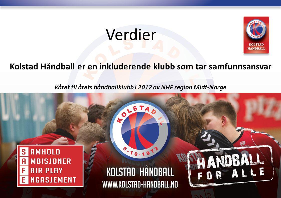 Verdier Kolstad Håndball er en inkluderende klubb som tar samfunnsansvar Kåret til årets håndballklubb i 2012 av NHF region Midt-Norge