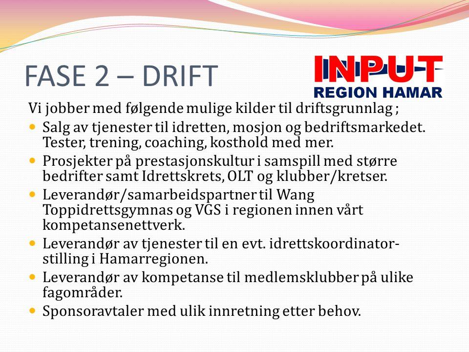 FASE 2 – DRIFT Vi jobber med følgende mulige kilder til driftsgrunnlag ;  Salg av tjenester til idretten, mosjon og bedriftsmarkedet. Tester, trening