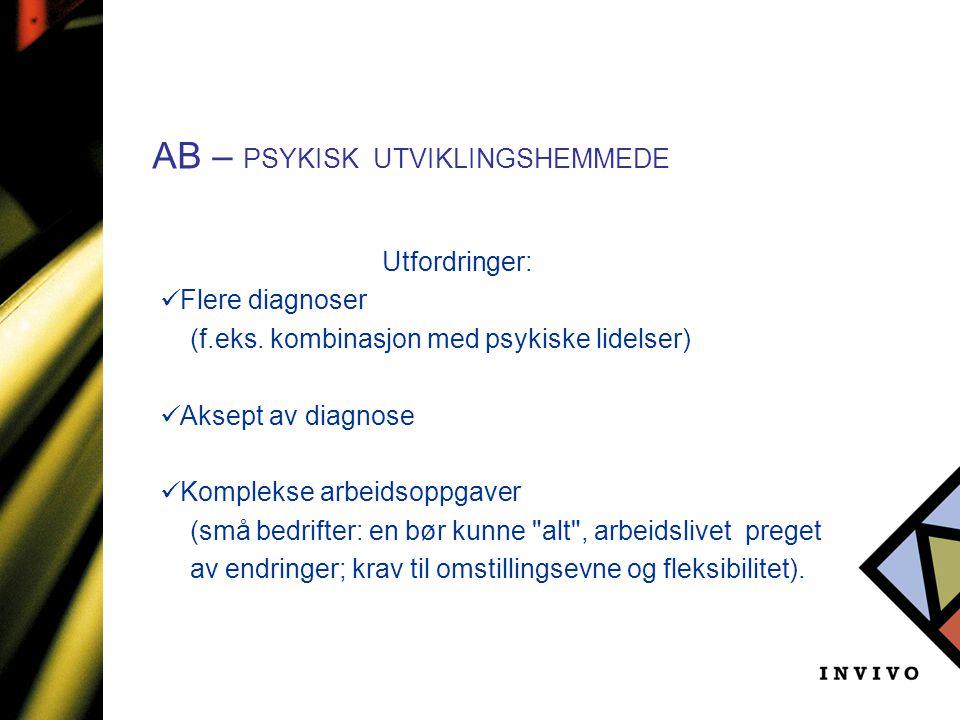AB – PSYKISK UTVIKLINGSHEMMEDE Utfordringer:  Flere diagnoser (f.eks. kombinasjon med psykiske lidelser)  Aksept av diagnose  Komplekse arbeidsoppg