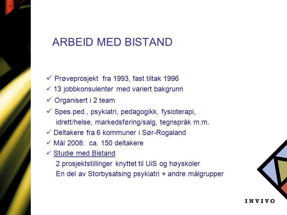 ARBEID MED BISTAND  Prøveprosjekt fra 1993, fast tiltak 1996  13 jobbkonsulenter med variert bakgrunn  Organisert i 2 team  Spes.ped., psykiatri,