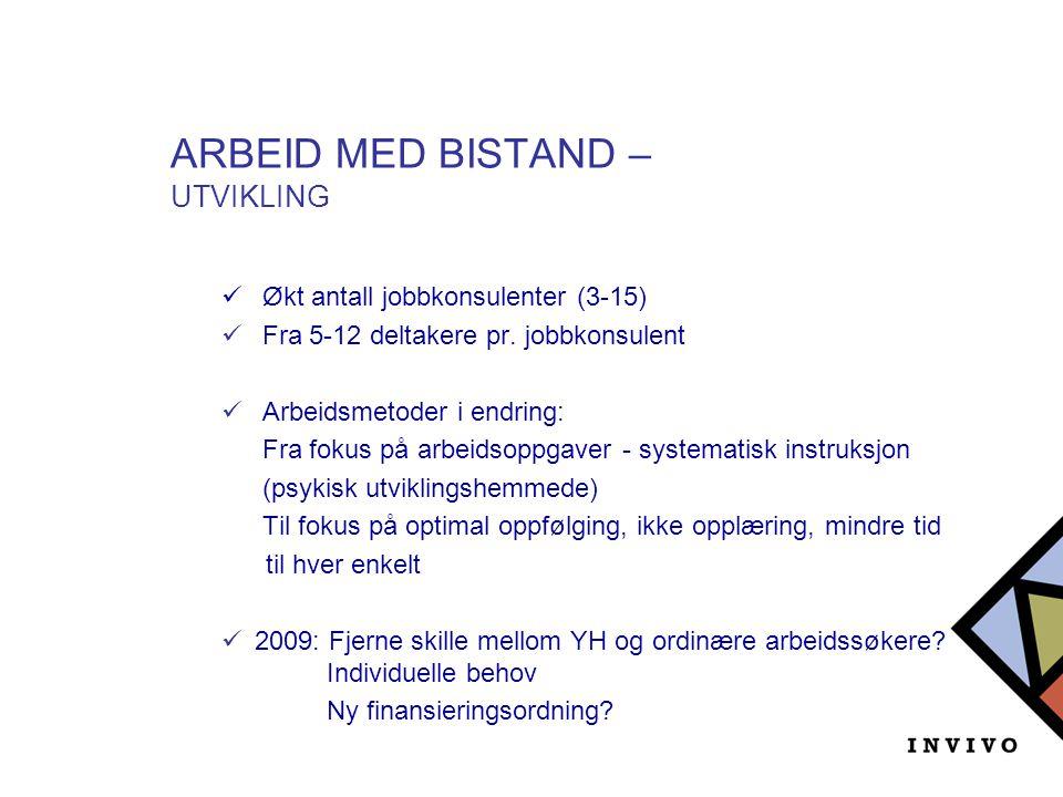 ARBEID MED BISTAND – UTVIKLING  Økt antall jobbkonsulenter (3-15)  Fra 5-12 deltakere pr. jobbkonsulent  Arbeidsmetoder i endring: Fra fokus på arb