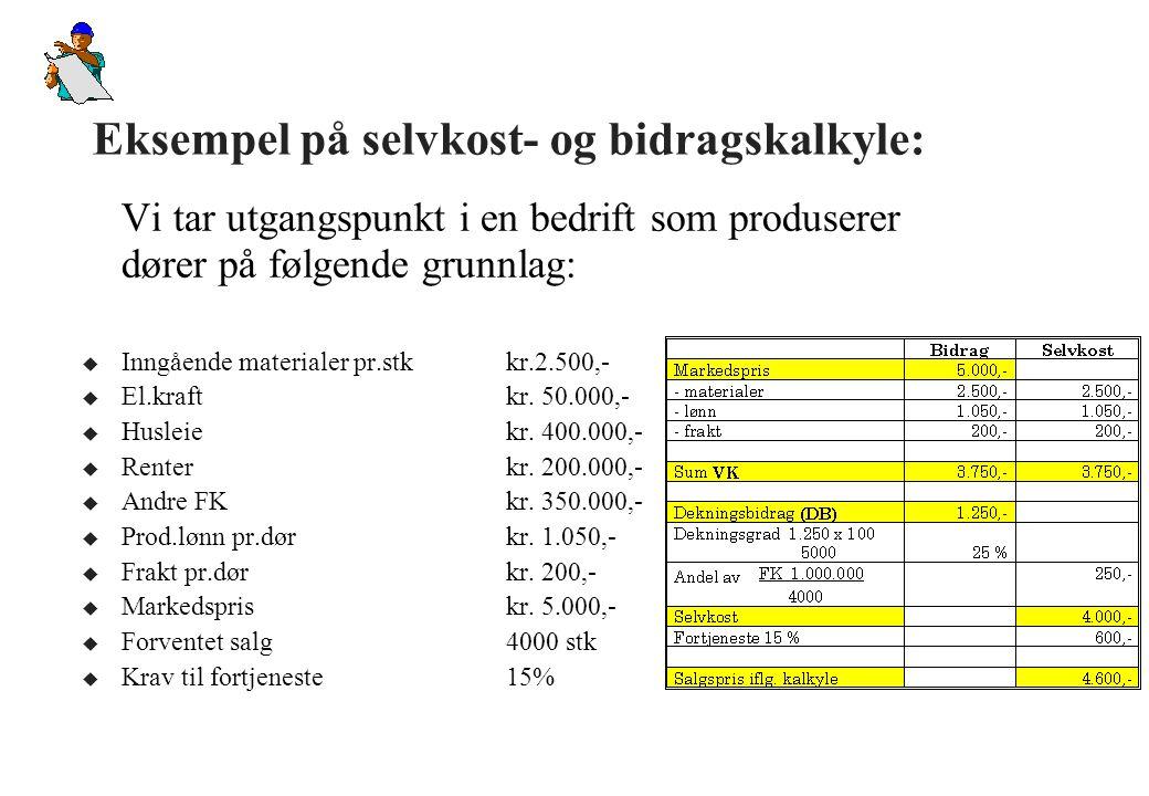 Bidragsmetodens nøkkeltall: u Dekningsbidrag (DB) – Dekningsbidraget, som er salgspris minus VK, forteller oss hva som er igjen til å dekke FK og fortjenester: – Dekningsbidrag (DB) = Salgspris - Variable kostnader u Dekningsgrad (DG) – Dekningsgraden forteller oss hvor stor del av salgsinntekten som blir igjen til å dekke FK og fortjeneste (i prosent): – Dekningsgrad (DG) = DB*100 / Salgspris u Egner seg godt til grafisk fremstilling